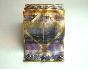 Miyuki Delica Glass Bead-Woven Cuff *Lightning Stripes*