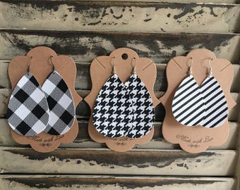 Black and White Leather Earrings - Houndstooth - Buffalo Check - Handmade Earrings - Faux Leather Earrings - Lightweight Leather Earrings