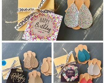 Happy Birthday Gift - Leather Earrings - Handmade Earrings - Faux Leather Earrings - Lightweight Earrings