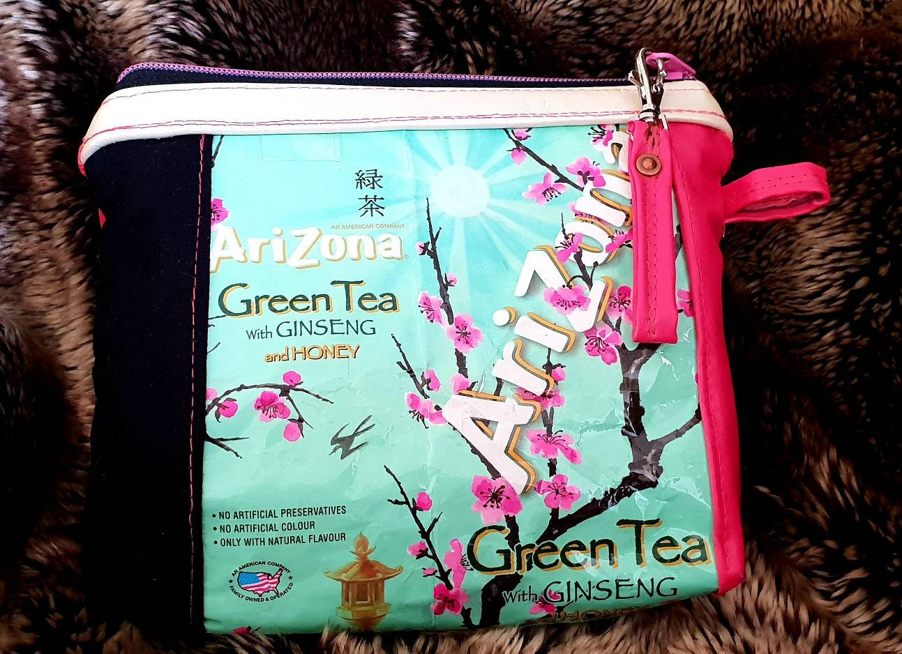 378ab68f49fc Pouch-toiletry bag-Arizona Green tea-upcycling-Pink and Black