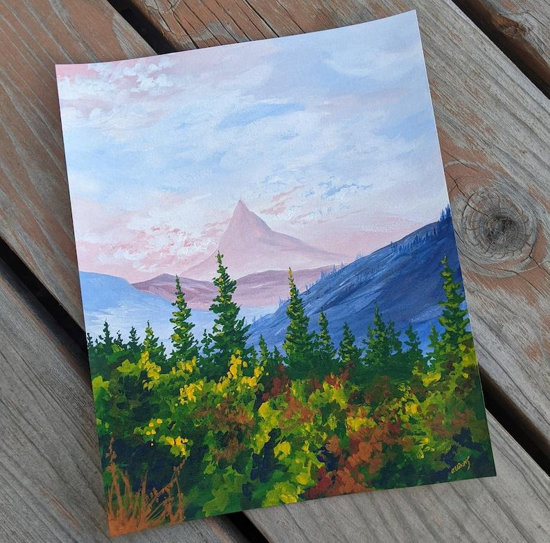 Fantasy Painting Dreamy 8x10 Original Gouache Watercolor Landscape Painting