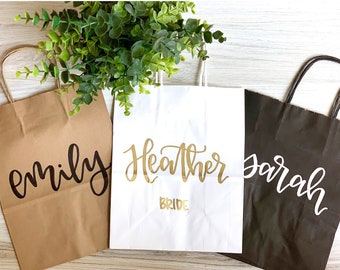 BEST SELLING custom name gift bags - bridesmaid gift bags, groomsman gift bags, wedding party gift bag, bridesmaid gift, wedding gift bags