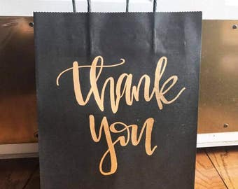 Thank you gift bags-craft paper bags, gift bags, wedding gift bags, party gift bags, thank you, gifts, paper bags, hand lettered gift bag