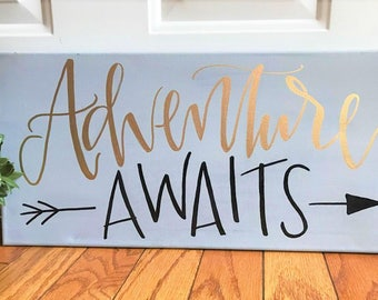 Adventure awaits - 10x20 canvas, hand lettered sign, calligraphy, arrow, adventure, quotes on canvas, quote canvas, quote sign