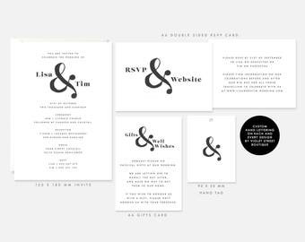 Modern Wedding Invitation Set, Black and white wedding invitation, Wedding invitation template, Custom Hand Lettered, Printable stationery