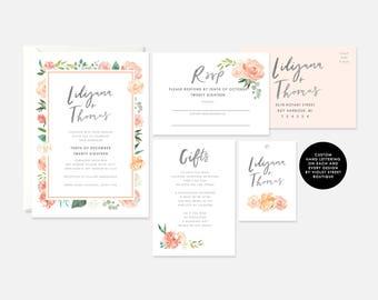Printable Peach Floral Invitation, White Floral, Wedding Invitation, Floral Wedding Invite, Custom Wedding Suite, Digital Download Suite