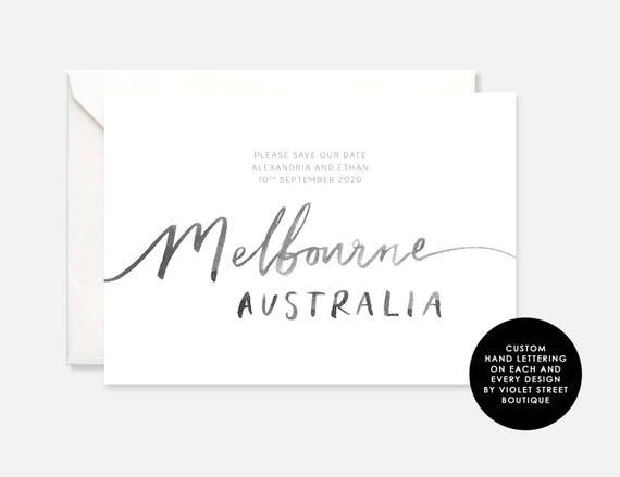 Printable Melbourne Save The Date Modern Wedding Invitation Black White Wedding Invitation Monochrome Wedding Invite Wedding Invitation