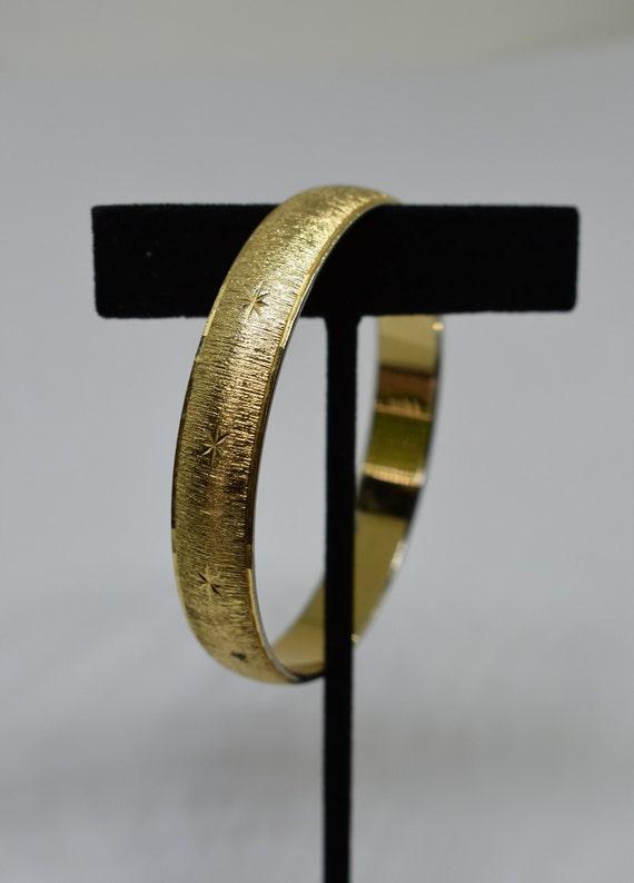Vintage Monet Gold Tone Etched Bangle Bracelet Pebbles