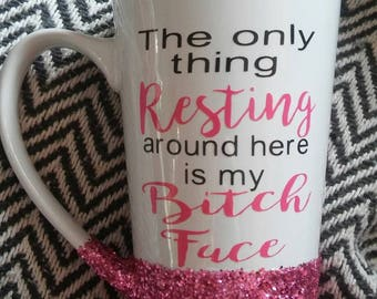 Funny coffee mug- Resting bitch face- Funny gift for her- Christmas sarcasm- Sarcastic friend- Funny friend gift- Coffee- Bitch- Best friend
