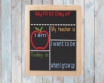 First day school board- Back to school- First day of school sign- Memory board- Chalkboard sign school- My first day- Kindergarten- Reusable