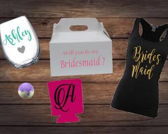 Bridesmaid box- Bridesmaid proposal- Will you be my bridesmaid- Bridesmaid gift box- Maid of Honor proposal- Maid of Honor gift box- Wedding