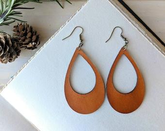 Teardrop Hoop Leather Earrings - Caramel Brown   Large Laser Cut Leather Earrings   Gift for Her