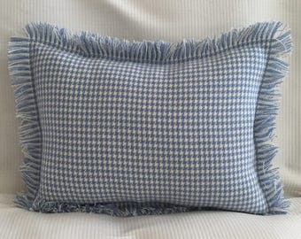 Sky blue and white houndstooth tweed wool with self fringe flanged sham back pillow