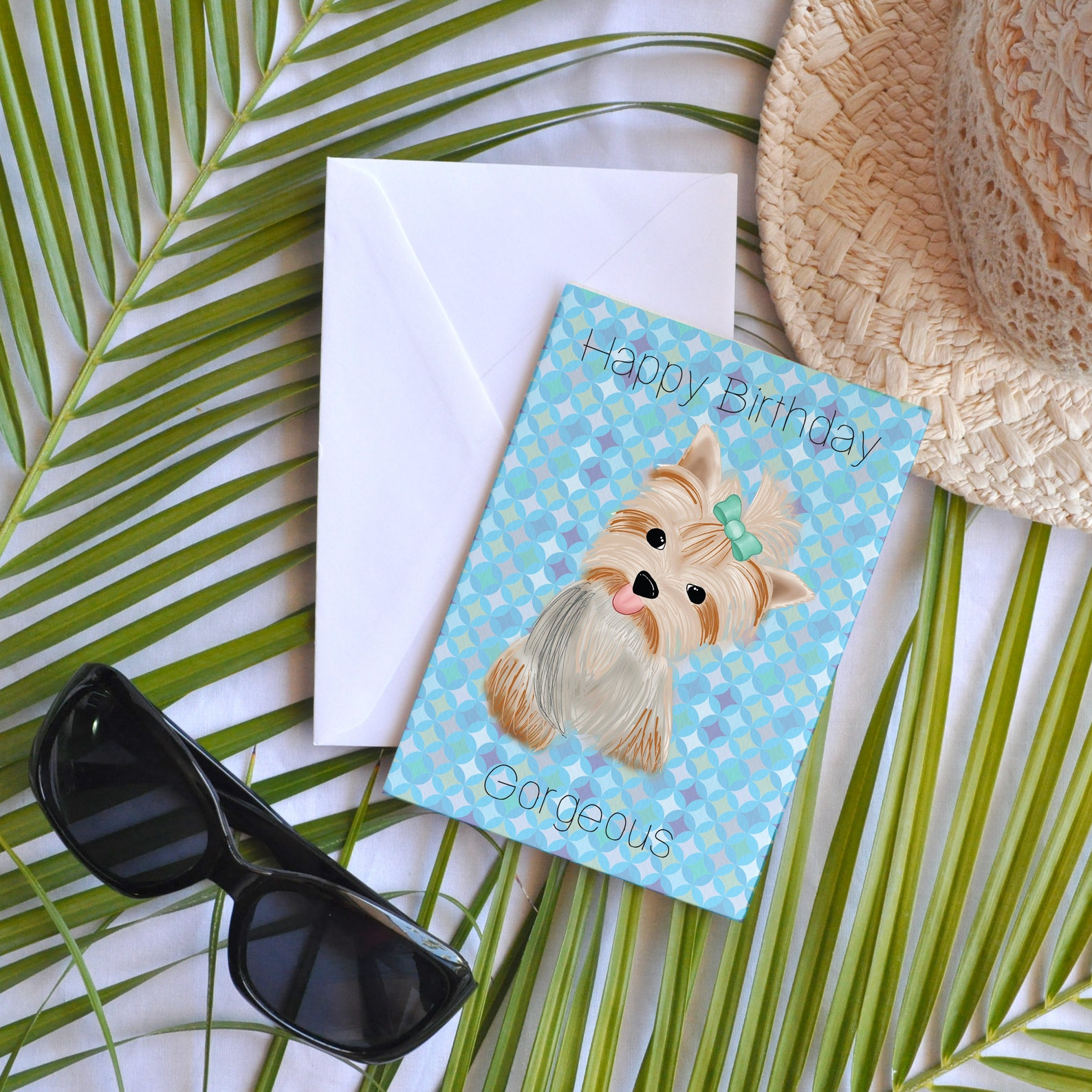 Yorkie Dog Birthday Card