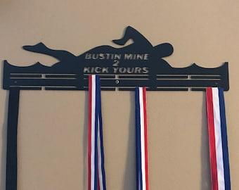 """SWIMMER / SWIMMING Awards Medal Hanger Display """" Bustin Mine"""""""