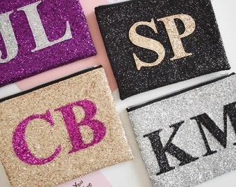 Personalised Clutch Bag, Large Glitter Monogram Bag, Alphabet Bag, Monogram Clutch, Initial Bag, Sparkly Evening Clutch Bag, Wedding