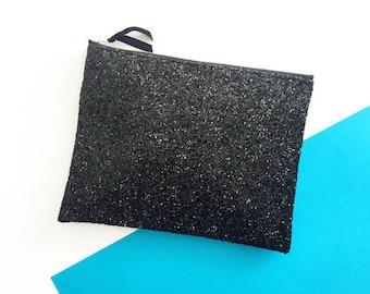 aca3ecce9dc Black Glitter Clutch Bag, Wedding Clutch Bag, Party Bag, Going Out Bag,  Glitter Wallet, Glitter Purse, Bridesmaid Clutch, Gift for Her