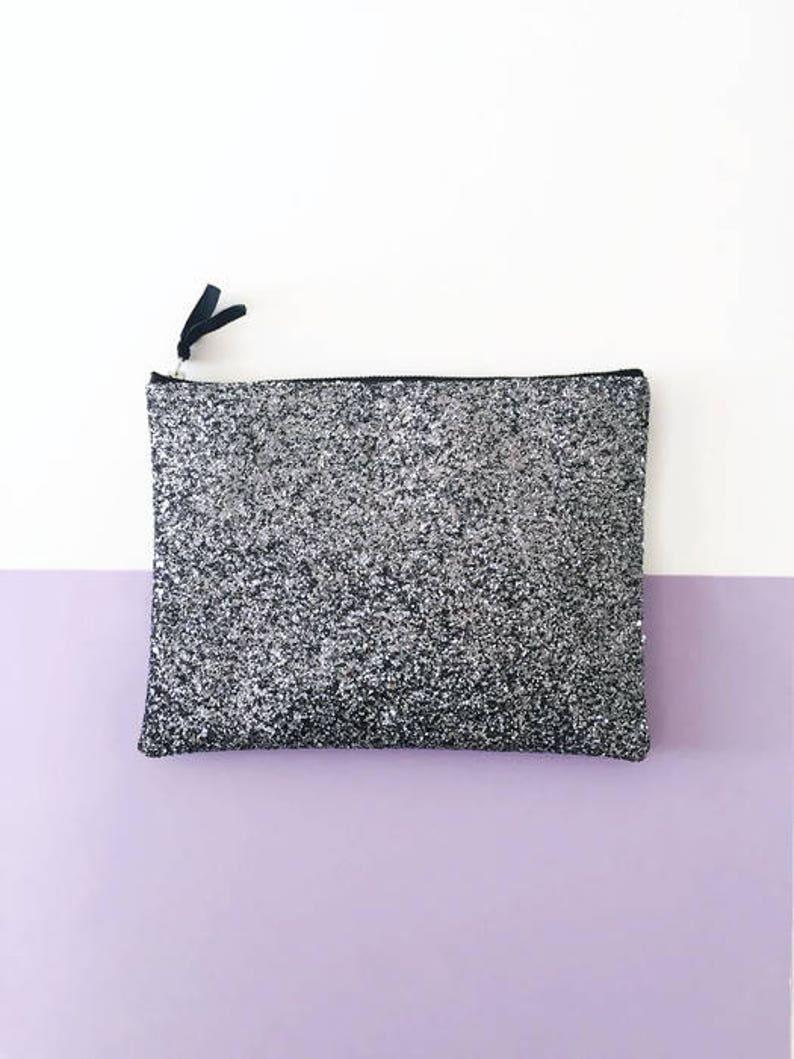 ef8b4069981 Gunmetal Grey Glitter Clutch Bag Sparkly Going Out Bag | Etsy