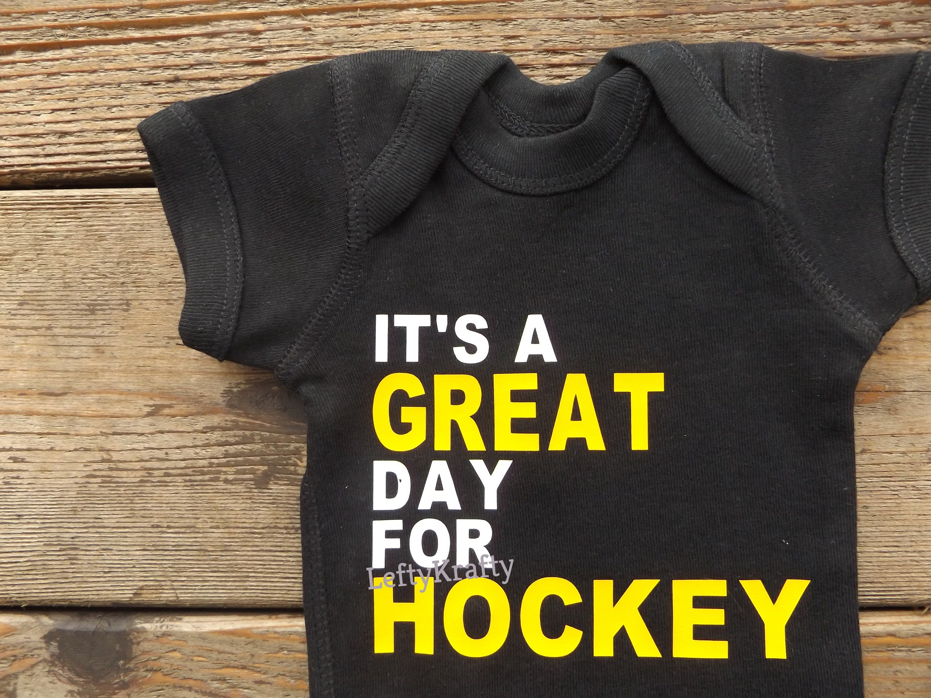 Personalized Name And Number Its A Great Day For Hockey Pittsburgh Penguins Hockey Baby Bodysuit Or T-shirt Baby Or Toddler Clothing Unisex Tshirt