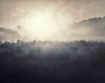 Misty Morning,White,Blue Print,Landscape Photography,Countryside Print,Sunrise Photo,Photograph,Countryside Wall Art,Fog,Mist,Print,Picture