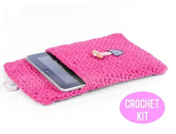 best website 336bc f1979 Tablet Cover Crochet Kit, Beginners Crochet Kit, Recycled Textile Yarn  Crochet Kit, Make Your Own Tablet Cover, DIY Crochet Kit, Tablet Case