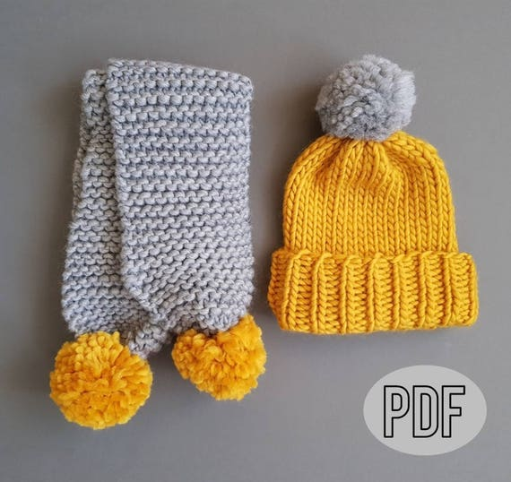 b3ce6685857 Pom Pom Scarf and Hat Knit Pattern Beginner Knitting Pattern