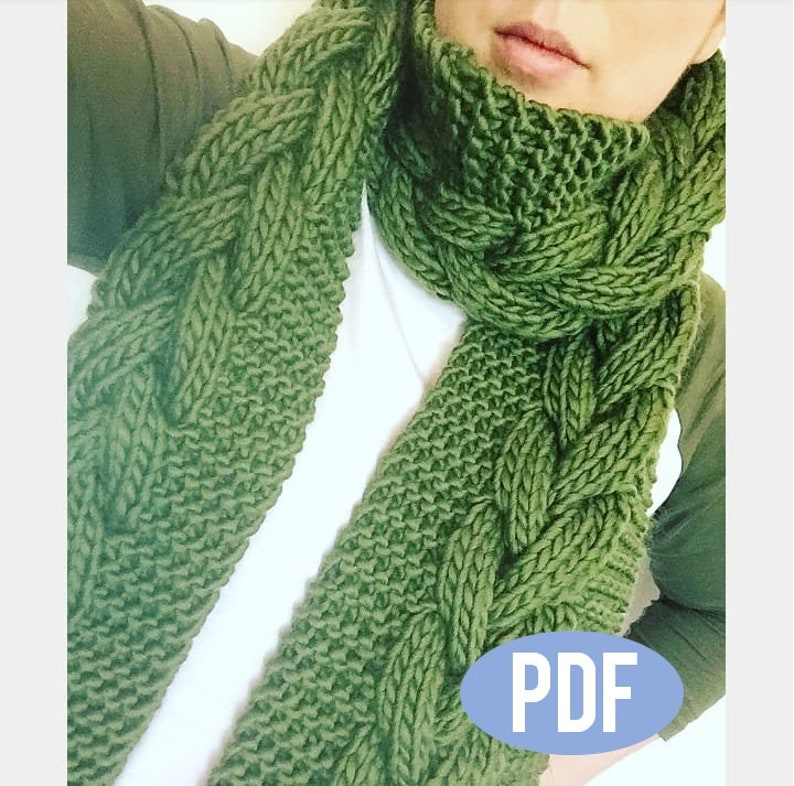 25c69100fe4 Cable Scarf Knitting Pattern Instant PDF Download