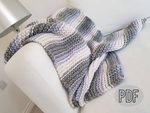 Baby Blanket Pattern Small Striped Baby Blanket Knitting Pattern