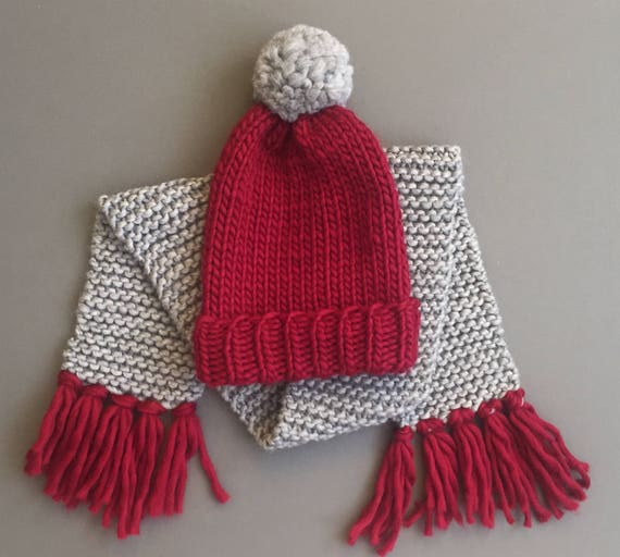 Echarpe   chapeau ensemble, couleur 2 grosse écharpe et chapeau de Pom Pom,  Kit, débutant écharpe en tricot ... caa8605d9ec