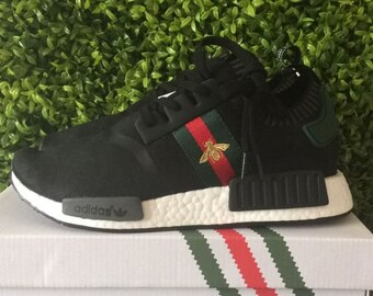 3498b14ef08 adidas nmd custom shoes gucci bee style paint louis vuitton mens womens  black color athletic run sneakers and custom laces and regular laces