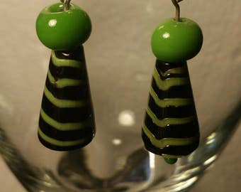 Lime green cone earrings