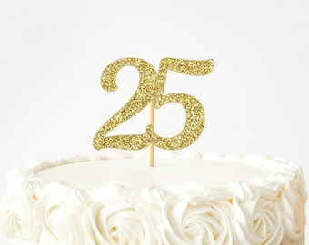 LVEUD Happy Birthday Cake Topper Black Font Golden Numbers 25th Birthday Happy Cake Topper,digital 25 Paper cup Cake topper,Birthday Party Decorations(1+6) 25