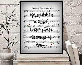 Because you loved me lyrics-lesson.