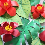 32 Tropical Paper Leaves and Flowers YOU CHOOSE Colors Heavy Weight Paper D.I.Y Safari Backdrop Jungle Party Baby Shower Monstera Leaves