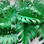 12 Green Paper Monstera Leaves 10 inch Heavy Weight Paper Large Tropical Monstera Leaves D.I.Y Safari Backdrop Jungle Party Baby Shower