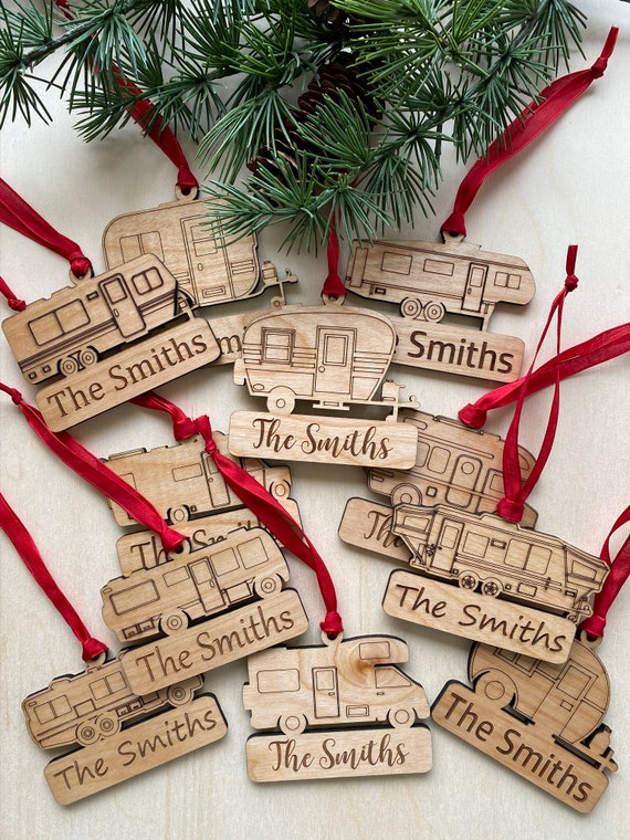 PERSONALIZED RV Ornaments Laser Engraved Wooden Chritsmas