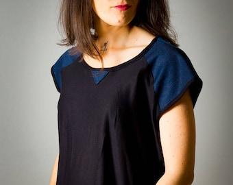 "Top for women ""Mila"", black T-Shirt and Denim Blue, fluid and light, asymmetrical, short sleeves"