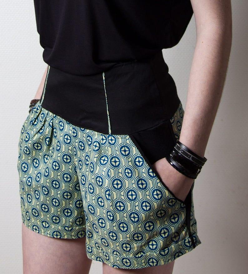 Short pour femme Chloé wax vert ethnique ceinture  21d7909e55f