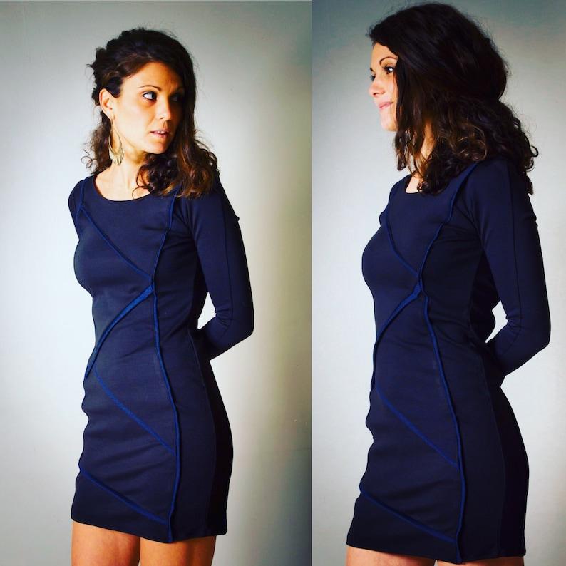 8448f41694 Dress Lou black dress and cut jeans blue denim | Etsy