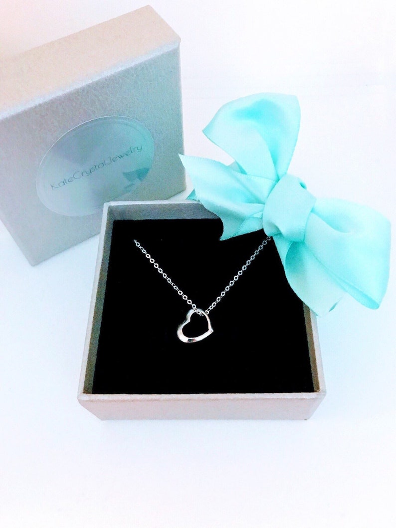 e24770217c2 Dainty Heart Necklace Sterling Silver. The Perfect Gift.   Etsy