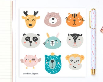 Cute animal stickers - 9 planner stickers, decorative stickers, bujo stickers, cute stickers, kawaii stickers, bullet journal stickers