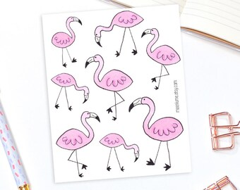 Pink flamingo stickers - 8 decorative planner stickers, bullet journal stickers, animal stickers, bird stickers, cute stickers, bujo sticker