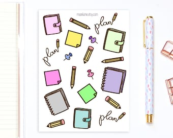 Planner girl stationery decorative stickers - 20 planner stickers, decorative stickers, planning stickers, bullet journal stickers