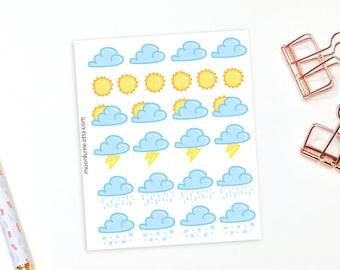 Weather planner stickers - 26 planner stickers, decorative stickers, weather stickers, weather planner stickers, weather sticker sheet