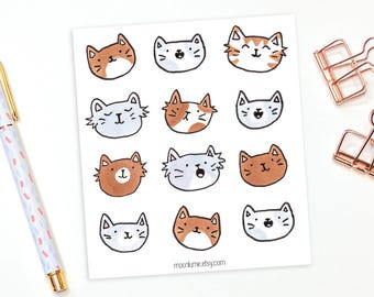 Cat stickers - 12 kitty planner stickers, decorative stickers, animal stickers, cute stickers, bullet journal stickers, bujo stickers