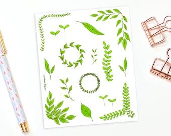 Plant stickers - 17 decorative leaf stickers, planner stickers, bullet journal stickers, decorative stickers, nature stickers, bujo stickers