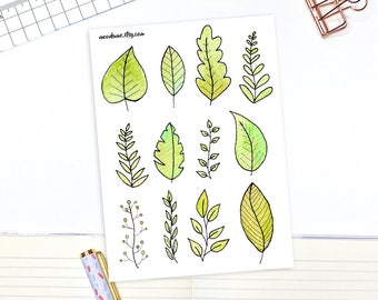 Watercolor leaf stickers - 12 decorative planner stickers, leaf stickers, nature stickers, green stickers, bullet journal stickers, leaves