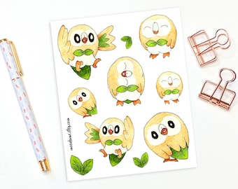 Rowlet stickers - 10 rowlet stickers, pokemon stickers, planner stickers, bullet journal stickers, decorative stickers, bujo stickers