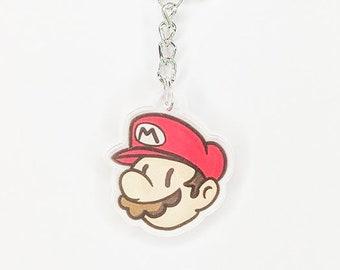 Mario keychain - super mario bros keychain, nintendo keychain, mario acrylic charm keyring, mario charm, video game accessories