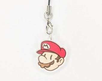 Mario phone charm - super mario bros acrylic charm, nintendo phone charm, mario acrylic charm, mario charm, video game accessories
